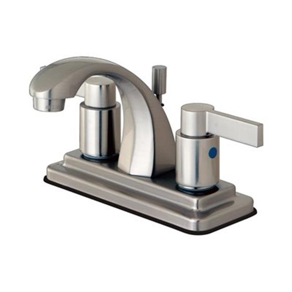 Elements of Design NuvoFusion Satin Nickel Euro High Rise Spout Lavatory Faucet With Brass Pop-Up