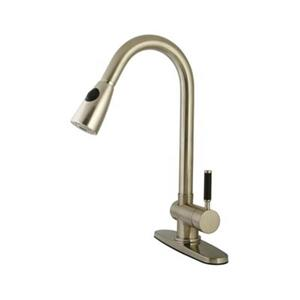 Elements of  Design Kaiser 17-in Satin Nickel Single Lever Handle Kitchen Pull Down Spray Faucet