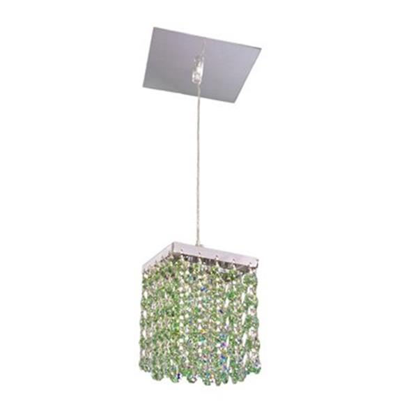 Classic Lighting Bedazzle Collection 4-in x 5-in Swarovski Elements Antique Green Crystal Pendant Light