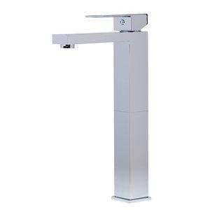 ALFI Brand Polished Chrome Tall Square Single Lever Bathroom Faucet