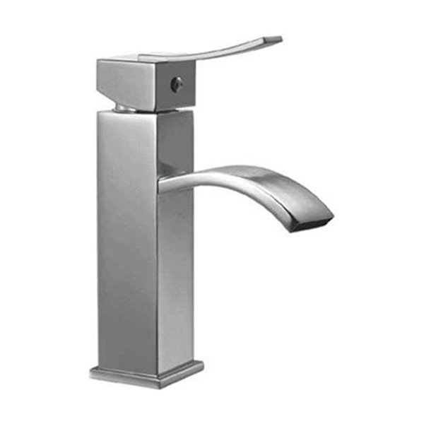 ALFI Brand Brushed Nickel Square Body Single Lever Bathroom Faucet