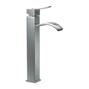 ALFI Brand Brushed Nickel Tall Square Body Single Lever Bathroom Faucet