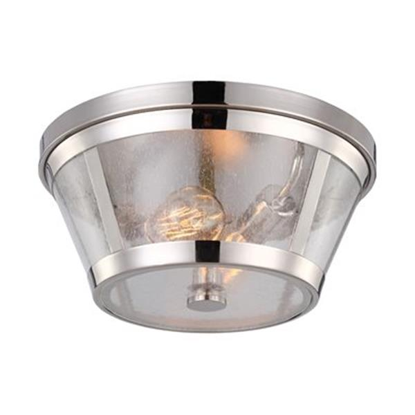 Feiss Harrow Polished Nickel 2-Light Flush Mount Ceiling Light
