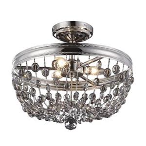Feiss Malia 13.5-in x 15.88-in Polished Nickel 3-Light Semi-Flush Ceiling Light