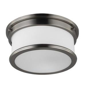 Feiss Payne Brushed Steel 2-Light Flush Mount Ceiling Light