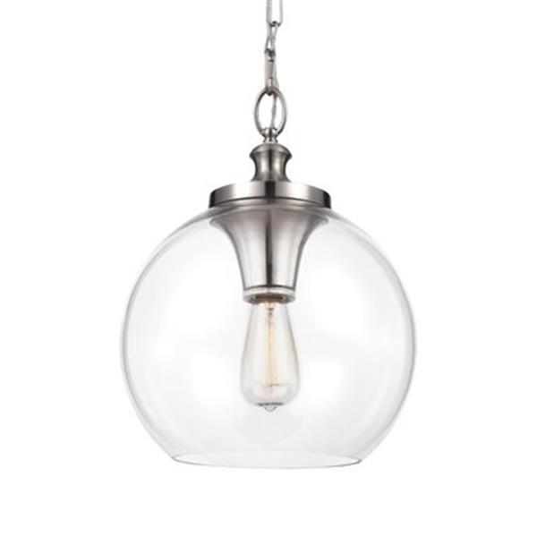 Feiss Tabby Brushed Steel 1-Light Pendant Light