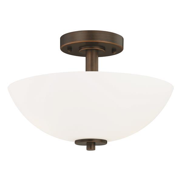 Cascadia Glendale 12-in Bronze Bowl Semi Flush Mount Ceiling Light