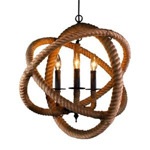 Warehouse of Tiffany Natalia Brown 3-Light Rope Enclosed Chandelier