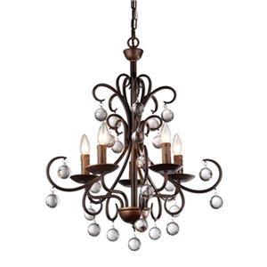 Warehouse of Tiffany Grace Antique Bronze 5-Light Crystal Drop Curved Chandelier