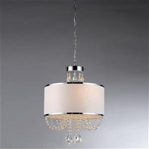 Warehouse of Tiffany Hera Chrome 4 Light Shaded Crystal Pendant Light