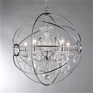 Warehouse of Tiffany Saturn's Ring Chrome 5-Light Chandelier
