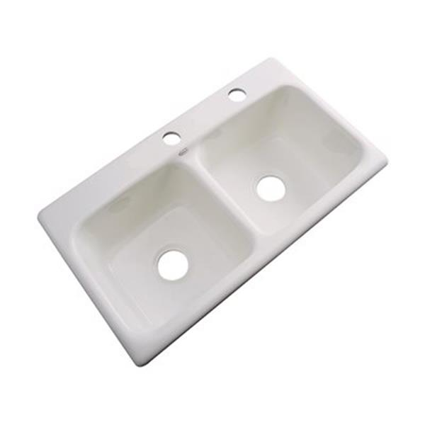 Dekor Englewood 19-in x 33-in Natural Double Bowl Kitchen Sink