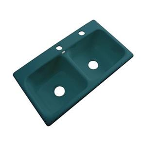 Dekor Englewood 19-in x 33-in Teal Double Bowl Kitchen Sink