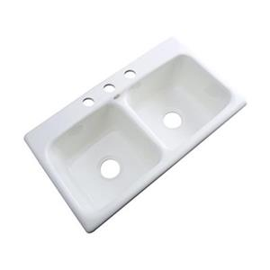 Dekor Englewood 19-in x 33-in White Double Bowl Kitchen Sink