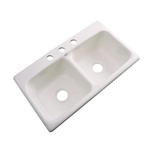 Dekor Englewood 19-in x 33-in Bone Double Bowl Kitchen Sink