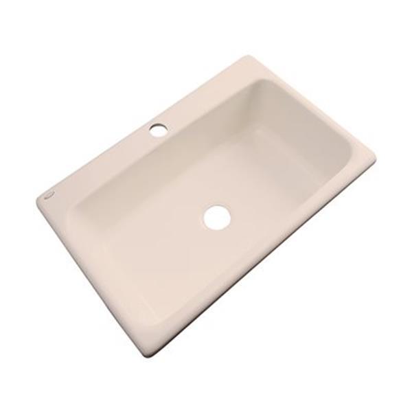 Dekor Brookwood 33-in x 22-in Peach Bisque Single Bowl Kitchen Sink