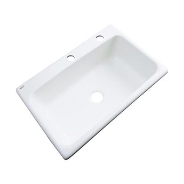 Dekor Brookwood 33-in x 22-in Almond Single Bowl Kitchen Sink