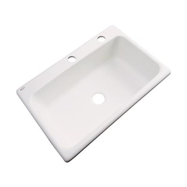 Dekor Brookwood 33-in x 22-in Bone Single Bowl Kitchen Sink