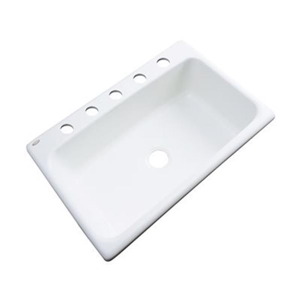 Dekor Brookwood 33-in x 22-in White Single Bowl Kitchen Sink