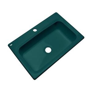 Dekor Ridgebrook 33-in x 22-in Teal Single Bowl Kitchen Sink