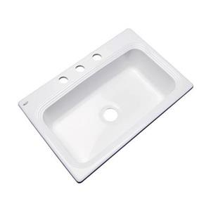 Dekor Ridgebrook 33-in x 22-in White Single Bowl Kitchen Sink