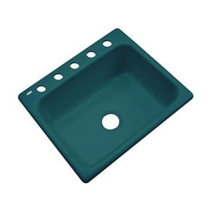 Dekor Princeton 25-in x 22-in Teal Kitchen Sink