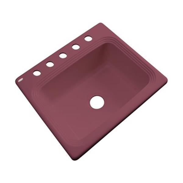 Dekor Chaumont 25-in x 22-in Raspberry Puree Single Bowl Drop-In Kitchen Sink