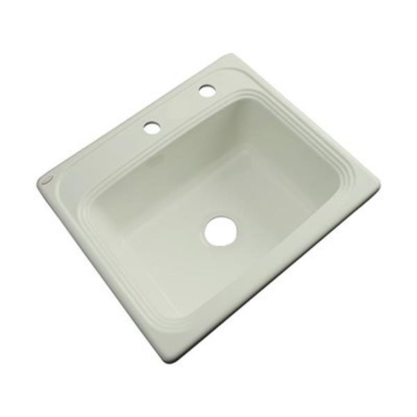 Dekor Waldorf 25-in x 22-in Jersey Cream Single Bowl Drop-In Kitchen Sink