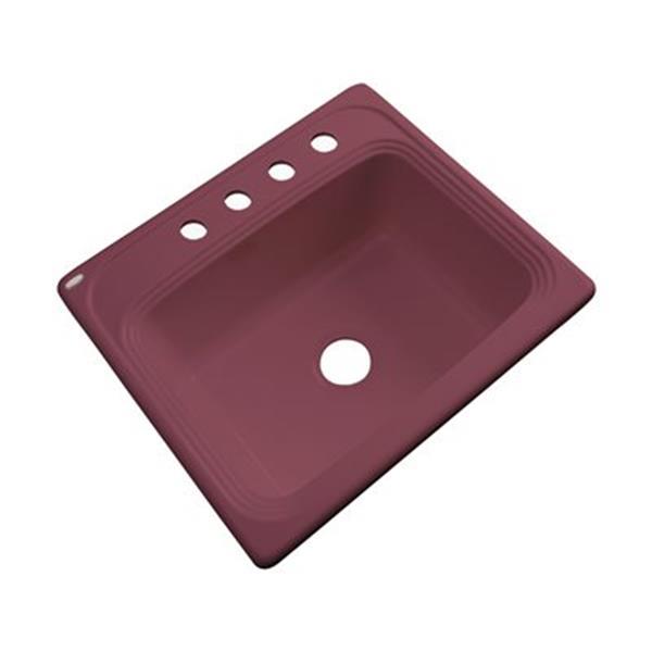 Dekor Waldorf 25-in x 22-in Raspberry Puree Single Bowl Kitchen Sink