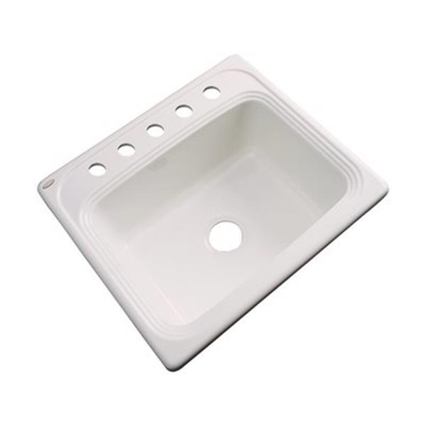 Dekor Waldorf 25-in x 22-in Bone Single Bowl Kitchen Sink