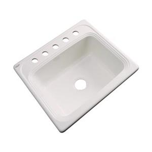 Dekor Waldorf 25-in x 22-in Bone Single Bowl Kitchen Sink