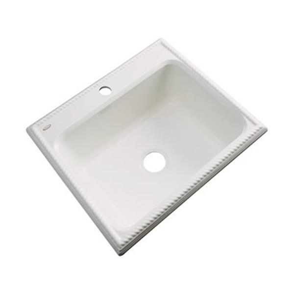 Dekor Litchfield 25-in x 22-in Almond Single Bowl Kitchen Sink
