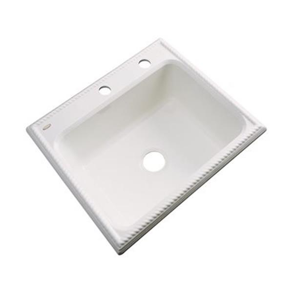 Dekor Litchfield 25-in x 22-in Bone Single Bowl Kitchen Sink
