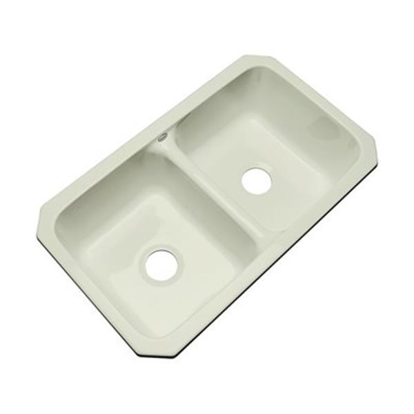 Dekor Westport 19-in x 33-in Jersey Cream Undermount Double Kitchen Sink
