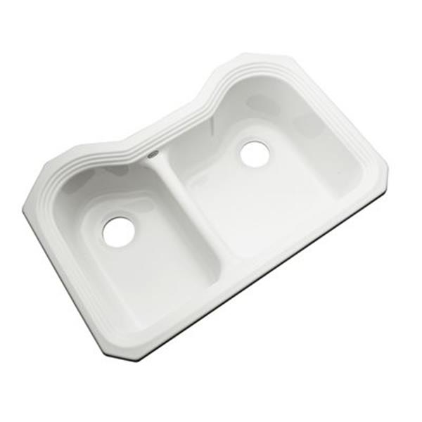 Dekor Buckingham 33-in x 22-in White Undermount Double Bowl Kitchen Sink