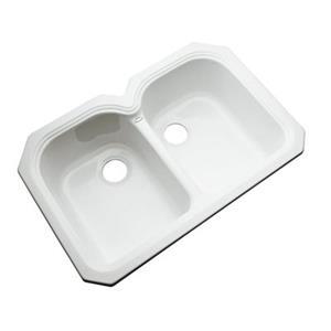 Dekor Waterford 33-in x 22-in White Undermount Double Bowl Kitchen Sink