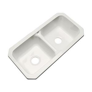 Dekor Englewood 33-in x 16-in Biscuit Undermount Double Bowl Kitchen Sink