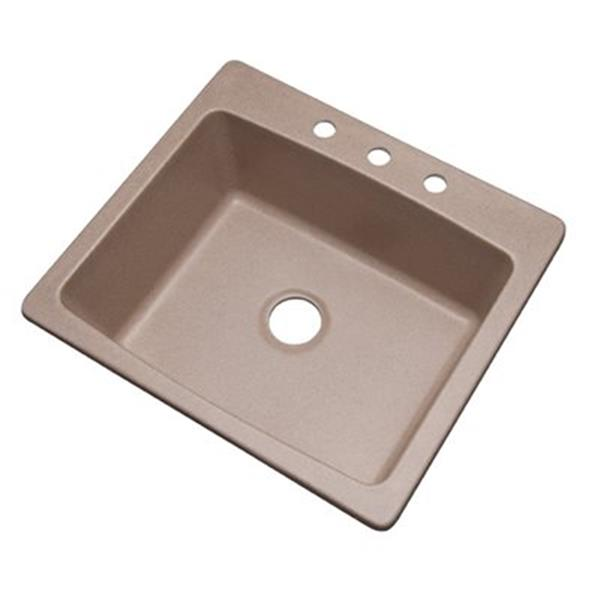 Dekor Waterbury 25-in x 22-in Desert Sand Kitchen Sink