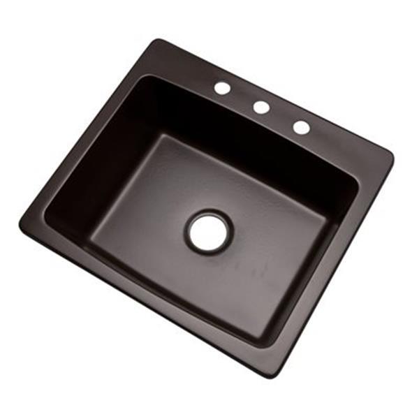 Dekor Waterbury 25-in x 22-in Espresso Kitchen Sink