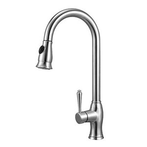 ALFI Brand LEON Traditional Solid Stainless Steel Pull Down Kitchen Faucet