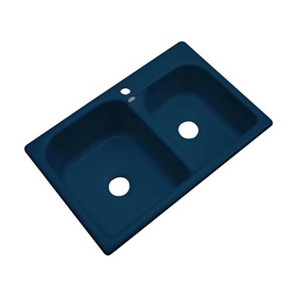 Dekor 22-in x 31-in Navy Blue Thornbury Double Bowl Kitchen Sink