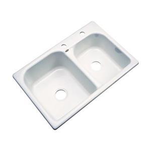Dekor 22-in x 31-in Biscuit Thornbury Double Bowl Kitchen Sink