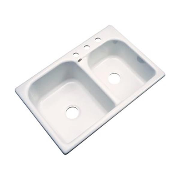 Dekor 22-in x 31-in Bone Thornbury Double Bowl Kitchen Sink