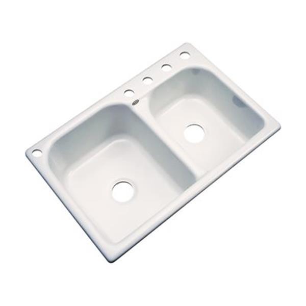 Dekor Thornbury 22-in x 33-in Almond Double Bowl Kitchen Sink