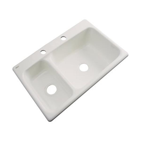 Dekor Windsor 22-in x 33-in Almond Double Bowl Kitchen Sink