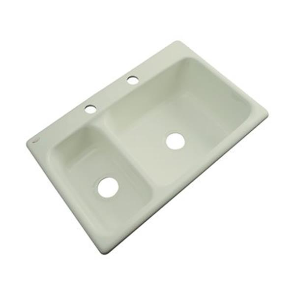 Dekor Windsor 22-in x 33-in Jersey Cream Double Bowl Kitchen Sink