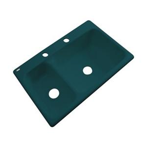 Dekor Windsor 22-in x 33-in Teal Double Bowl Kitchen Sink
