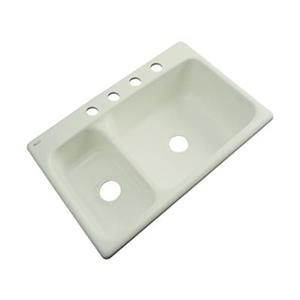 Dekor Windsor 22-in x 33-in Jersey Cream Double Bowl Kitchen Sink