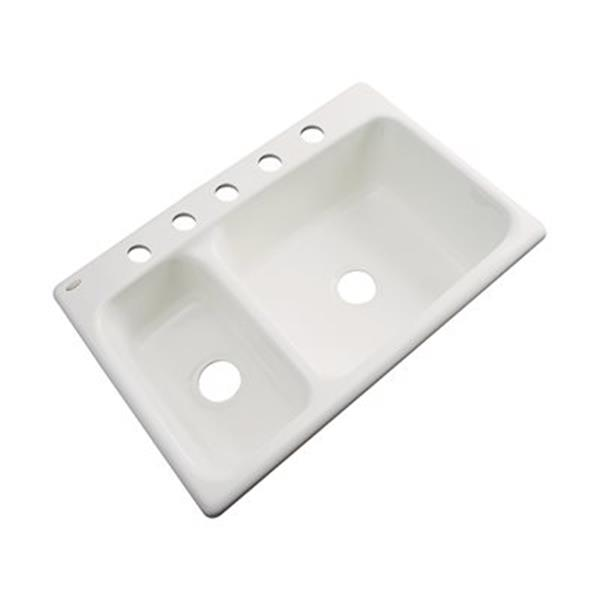 Dekor Windsor 22-in x 33-in Almond Double Bowl Kitchen Sink