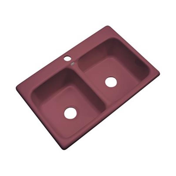 Dekor Westport 33-in x 22-in Raspberry Puree Double Bowl Kitchen Sink